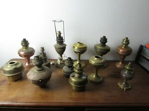 Bad Set Of 11 Antique Lamps a Oil Tanks Brass Or Copper
