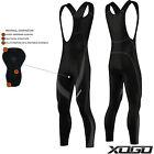 XOGO Mens Cycling Bib Tights Coolmax Padded MTB Road Bike Long Pants Black/Grey