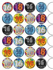 "24 x Happy16th Birthday Mix  1.5"" PRE-CUT PREMIUM RICE PAPER Edible Cake Toppers"