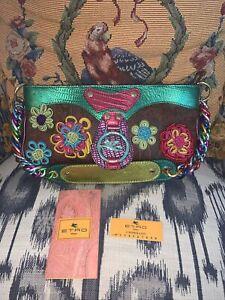 ETRO PEGASO Rare Paisley Brown Leather Colorful Strap Shoulder Bag Purse Handbag