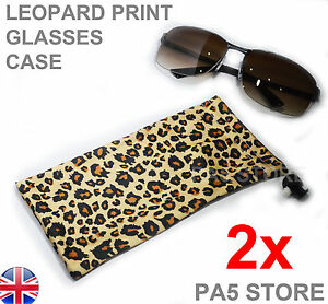 2x Leopard Print Sunglasses Pouch Case Cloth Microfibre - Shades Glasses Unisex!