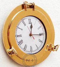"10"" Ship Window Wall Clock Porthole Nautical Marine Brass Ship Porthole Clock"