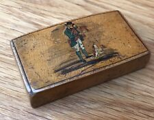 Georgian Fruitwood Snuff Box Decorated With A Huntsman And His Dog C. 1780