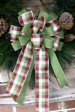 "10 "" FARMHOUSE PLAID WIRED BOW WREATH SWAG GARLAND MAIL BOX FENCE POST # 53"