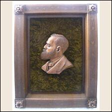 Antique Wood Hand Carving Wall Sculpture President Garfield Framed Artwork