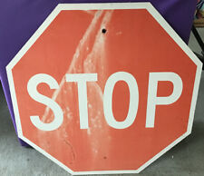 "Vintage Red  STOP Road  NY street traffic SIGN MAN CAVE 24"" GARAGE"