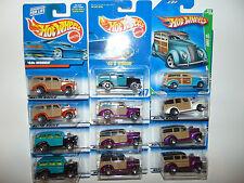 12) Hot Wheels 40's WOODIE Blue Card 217 Treasure Hunt 4316 Vintage Lot Diecast