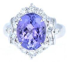 Platinum Natural Tanzanite & Diamond Ring 5.63ctw 10g