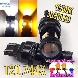 V1 Front Signal Parking Light Switchback LED 7443 w/ Resistor Amber White B1 #12