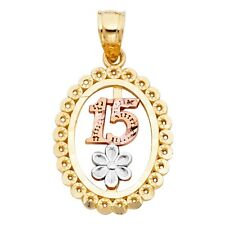 21 mm Oval Disc 14k Tri Colored Solid Gold Flower 15 Anos Quince Charm Pendant