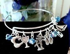 "Summer Beach Themed ""So Cute"" Silver charm Expandable Bangle Bracelet"