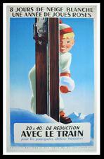 Original vintage ski poster - R. HUGON - 8 days of ski SNCF - 1956