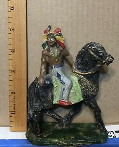 Composition Native American Indian figure on horse - German Lineol Hausser