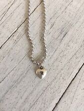 "Jennifer Dahl Initial H Tiny Heart Charm Necklace 18"" Silver Tone Beaded Chain"