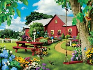 Jigsaw Puzzle Landscape Picnic Paradise Red Barn Vacation Retreat 750 pieces NEW