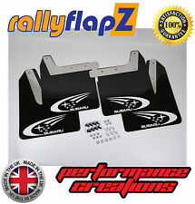 Qty4 Mud Flaps & Fixings SUBARU IMPREZA New Age 01-07 4mm PVC Black Swoosh White