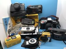 Vintage cameras lot of 8 ,Film, Lense,  Bag, Books, &Kodak'92 Pin #19-98