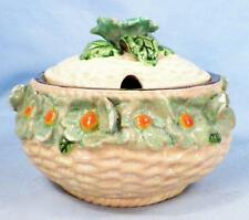Maruta Ware Mustard Mayonnaise Jar Art Pottery Japan 3D Flowers Vintage Serving