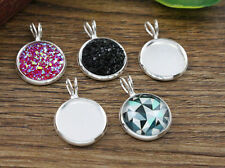 20pcs 12mm Inner Size Silver Plated Round Cabochon Pendant Base