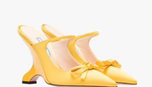 Prada Yellow Satin Wedge Pointed toe pump w/bow and button strap openback 38  8
