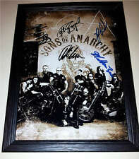 "SONS OF ANARCHY CAST X5 PP SIGNED & FRAMED 12""X8"" POSTER CHARLIE HUNNAM SOA"