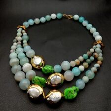 "20""Turquoise White Keshi Pearl Blue Agate  3 Strands statement Necklace"
