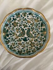 Made In Italy Assisi Wall Hanging Plate Teal Bird And Flowers With Gold