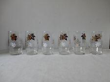 Six Lovely Vintage Tumblers Hi Ball Glasses 50s/60s Gold/White Leaf Design