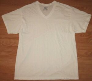 New XL Short Sleeve Fruit of the Loom White V-Neck Tee T-Shirt Cotton Solid Top
