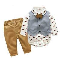 3Pcs/Set Newborn Kids Baby Boy Romper Tops Pants Clothes Outfits Gentleman X3G2