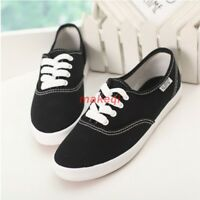 Fashion Sweet Cute Womens Casual Canvas Lace Up Flat Low Heel Round Toe Shoes
