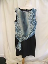 Ladies Dress AllSaints black with turquoise silk front panel, UK 12, EU 40, 2136