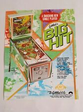 1977 Gottlieb BIG HIT Original Vintage Pinball Machine Flyer Ad