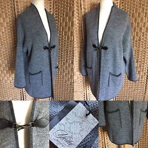 "BNWT YIDA Made In Italy Grey CLIP FRONT Cardigan Sz L 16 18 L 31"" LAGENLOOK Arty"
