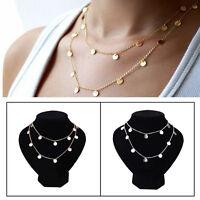 Women Sequins Pendant Choker Necklace Long Chain Collar Punk Bohemia Jewelry tgs