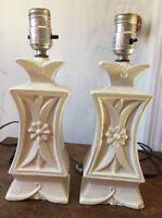 Vintage Pair Table Lamps Art Deco Ceramic Floral Flower Boudoir Accent Lamp