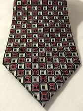 Geoffrey Beene Red Black And White Geometric Tie