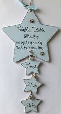 Personalised New Born Baby Boy Son Star Blue Plaque Christening Gift Birth