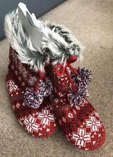 BNWT-Primark Rojo Talla 5-6 Nórdica Zapatilla Botas De Reino Unido.