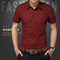 Men Luxury Casual Slim Fit Business Button Dress Shirts Short Sleeve Shirt Tops