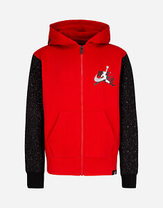 Nike Jordan Big Boys Gym Red/Black Splatter Classic II Terry Full Zip Hoodie