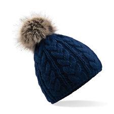 Bonnet pompon bleu marine navy torsadé MIXTE hiver ski marque Beechfield