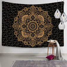 Tapestry Wall Hanging Home Decor Black Gold Ombre Mandala Twin Bedding Blanket