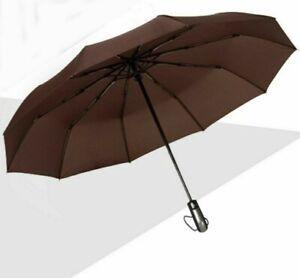 Large Automatic Umbrella Men Women Folding Compact Durable Frame Windproof 105CM