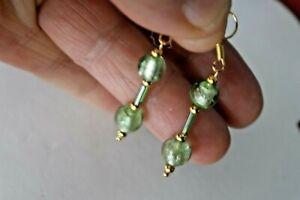 GOLD PLATED GREEN MURANO GLASS  EARRINGS 3.5 CM. LONG + HOOKS