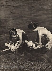 1940 Vintage BORNEO MOTHERS Washing CHILDREN In River By K.F. WONG Photo Art