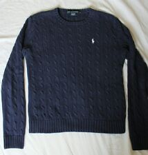 Women's L Polo Ralph Lauren Preppy Cable Knit Sweater Navy Blue With White Pony