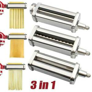 For KitchenAid Pasta Roller Cutter Maker 3-piece Stand Mixer Attachment Set New
