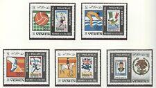 YEMEN Kingdom Olympic Stamp Exhibition 1968 perf.+Imperf. set and 2 blocks