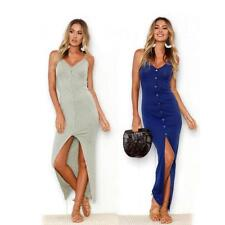 Women's Halter Split Long Dress Party Cocktail Midi Sleeveless Bodycon Dress B